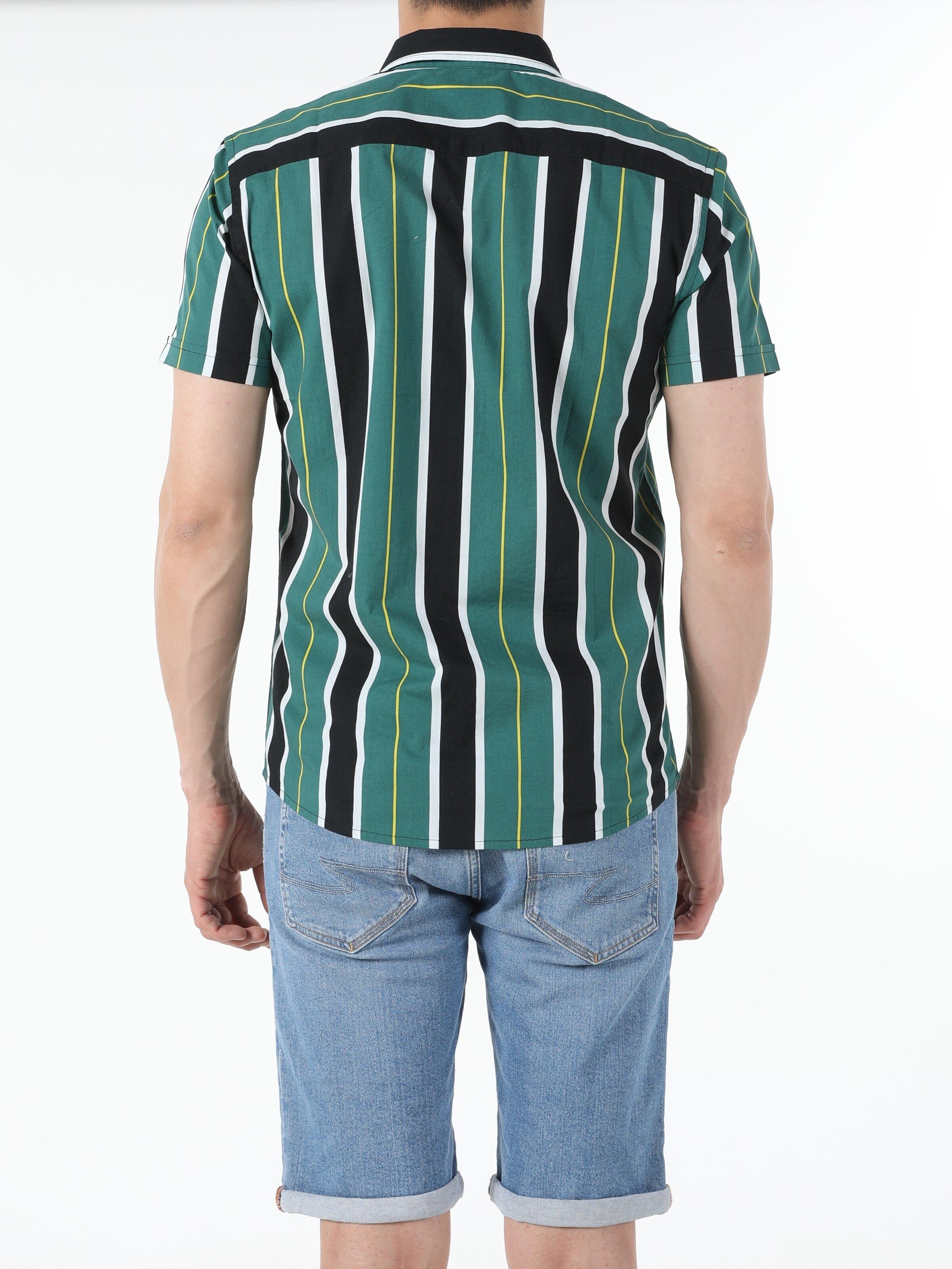 Показати інформацію про Сорочка З Коротким Рукавом Чоловіча Зелена Вузького Крою Cl1054247