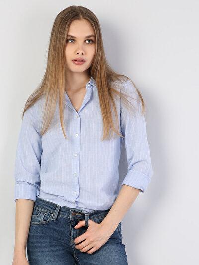 Зображення Блакитний жін. Сорочки з довгим рукавом