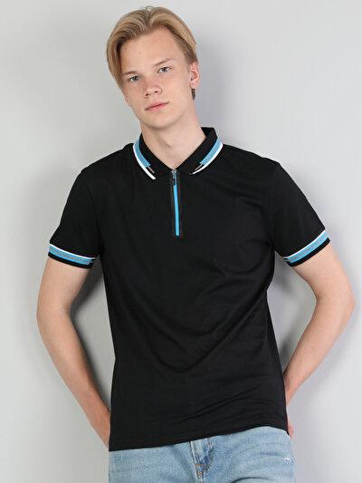 Зображення Чорний чол. теніска поло з коротким рукавом