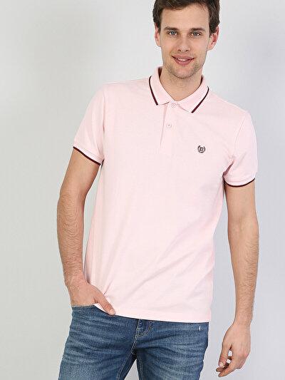 Зображення Рожевий чол. теніска поло з коротким рукавом