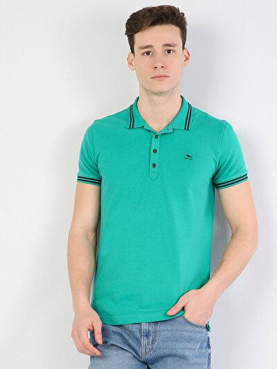 Зображення Зелений чол. теніска поло з коротким рукавом