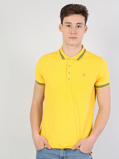 Зображення Жовтий чол. теніска поло з коротким рукавом